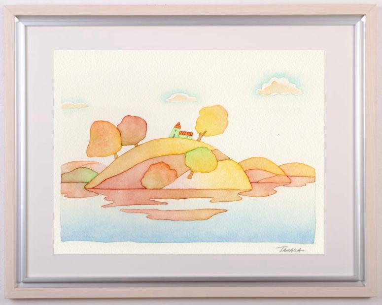 田原健二さんが水彩画の絵画で描いた絵 秋びより 贈呈 は優しい絵本を見ているような水彩画の絵画です 田原健二 作家名 作品名 超激安特価