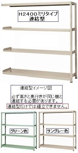 スチールラックボルトレス中量ラック・中量棚H2400×W1500×D470天地4段(連結型)