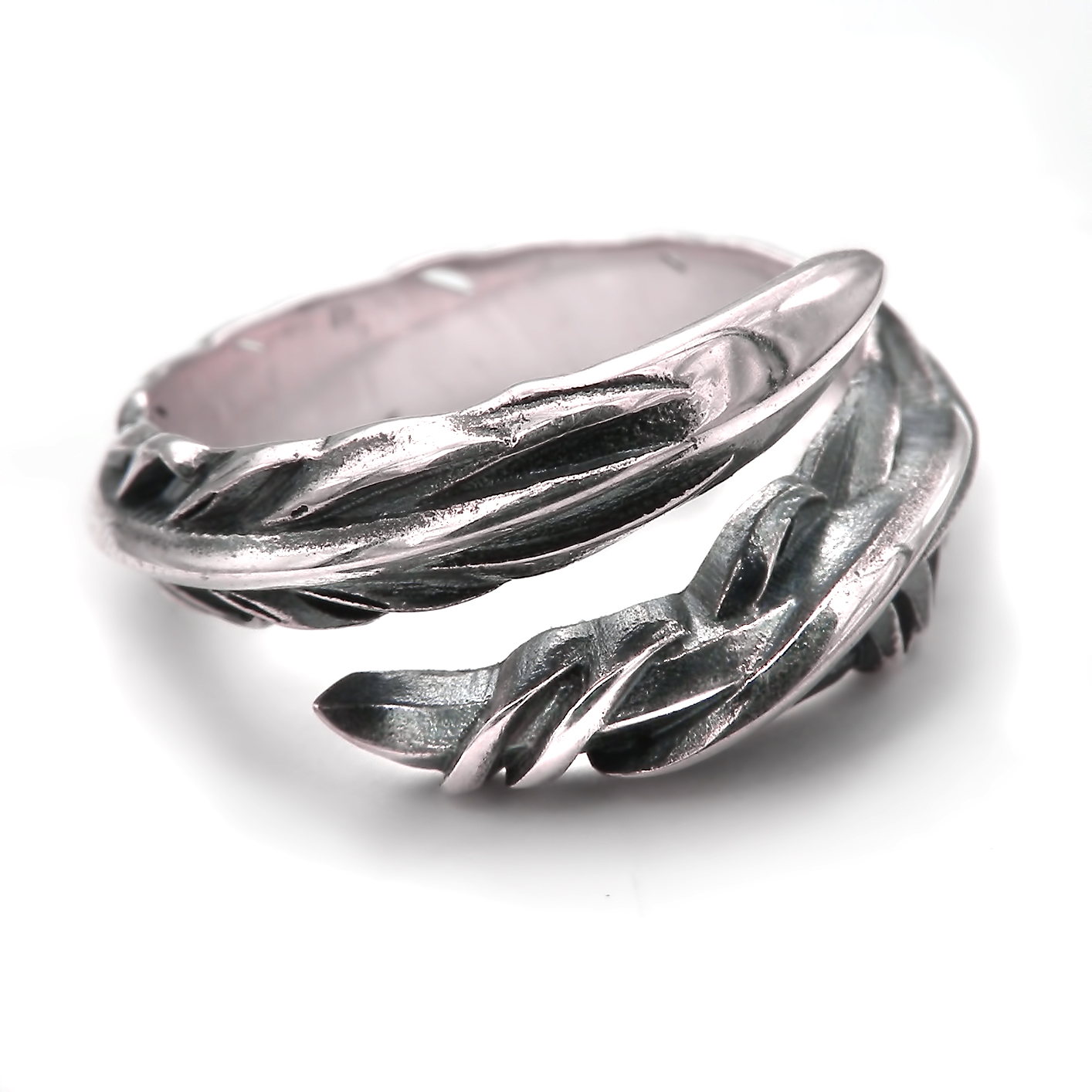 jewellery engagement iszie open adjustable long silver itm leaf beautiful sterling ring rings feather