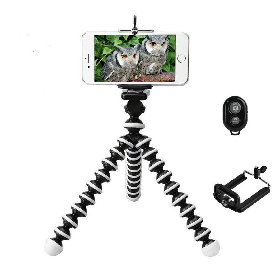 スマホの小型三脚 カメラの1 4インチネジにも対応 リモコン付き スマホ三脚 ゴリラポッド三脚 くねくね三脚 1 4インチネジ iphone 4 5 5S 6 6S 7 7S 中型 android 旅行 ミニ三脚 屋外 動画撮影 Z5など対応 Z3 bluetooth XperiaXZ 軽量 屋内 在庫一掃売り切りセール 記念撮影 自撮り 格安店 携帯しやすい コンパクト