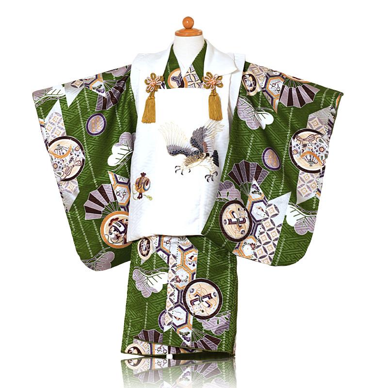 七五三 着物 3歳男の子 被布セットレンタル 海外輸入 人気です 着付けも簡単な被布セット レンタル 緑グリーン着物 白色被布鷹刺繍 男の子 3歳 753 往復送料無料 h 小物一式つき 買収 フルセット 被布