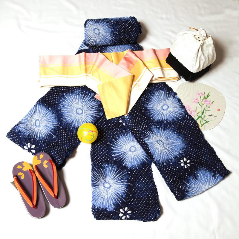 有松鳴海絞ゆかた 浴衣帯 浴衣下駄 花火絞り浴衣 (有松絞り浴衣反物:紺色系)反物浴衣