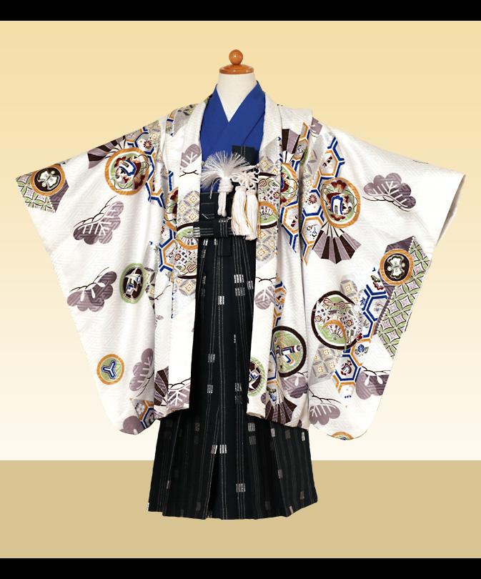 七五三 着物 5歳 男の子 ブランド 袴セット 購入品 白色系 通信販売 買う 【セール値引き品】【買う】