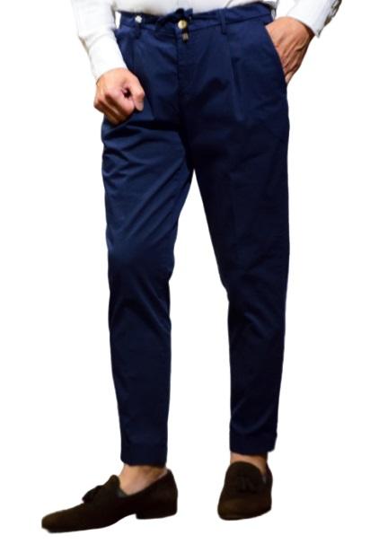 バルバッティ パンツ Barbati GI-NIK/D7 031 120031 パンツ ワンプリーツ テーパードライン ネイビー コットンストレッチ ガーメントダイ