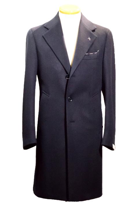 送料無料 デ・ペトリロ コート De Petrillo チェスターコート バックベルト付き ウールカシミア ネイビー メンズコート