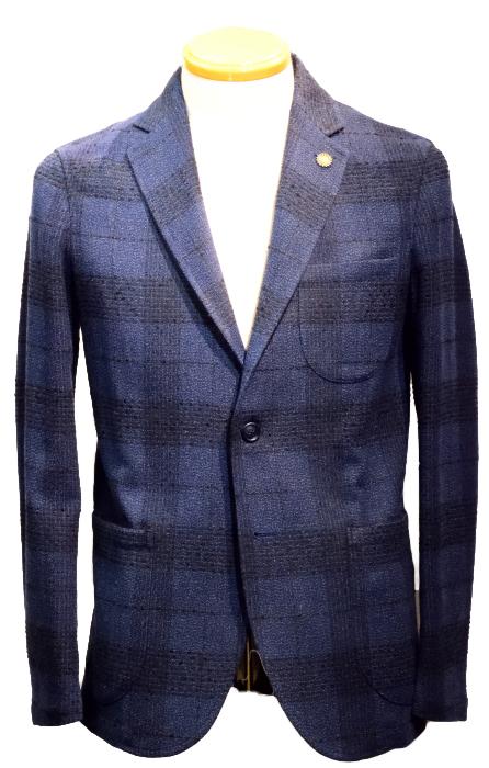 【SALE50】ジャンネット ジャケット giannetto PORTFINO シャツジャケット グレンチェック ネイビー ウール