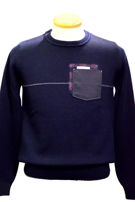 ピーエムディーエス/P.M.D.S./ポケット付きセーター/ ウール/ ネイビー