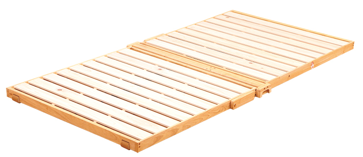 国産 中居木工 折りたたみ敷マットベッド ひのき スノコ 2つ折りスプリングタイプ シングル