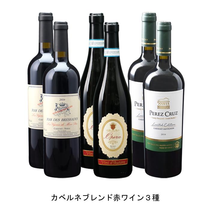 フランスワイン イタリアワイン チリワイン 宅送 6本セット カベルネブレンド赤ワイン3種 特売 各2本