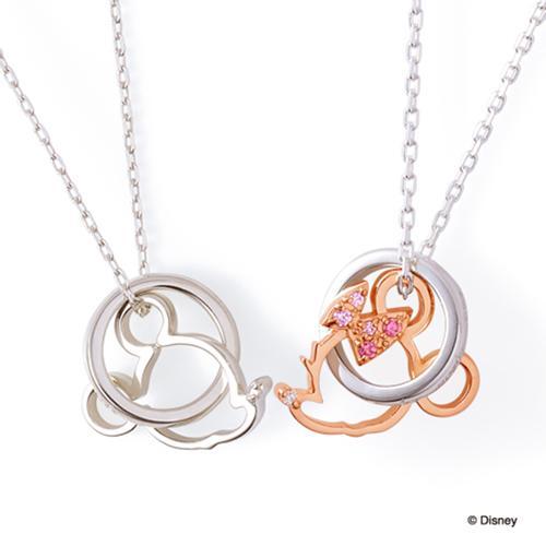 THE KISS ディズニー コレクション ペアネックレス 男性 女性 2個ペア シルバー ネックレス ミッキー レディース メンズ ペア ダイヤモンド 40cm 50cm ザ・キッス お揃い 誕生日 記念日 メンズ