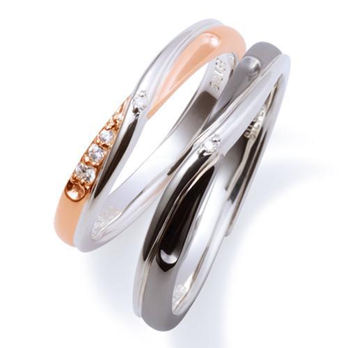 THE KISS ペアリング 男性 女性 2個ペア シルバー リング エターナルハート レディース メンズ ペア ダイヤモンド インフィニティ ザ・キッス カップル お揃い 指輪 誕生日 記念日 メンズ刻印可能
