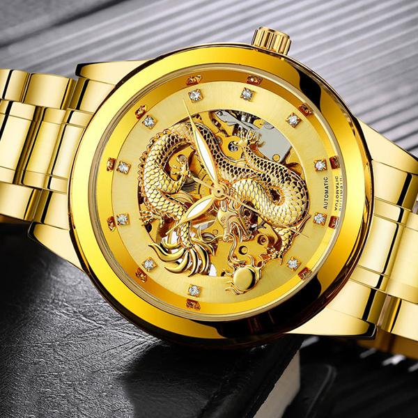 腕時計 オートマチック スケルトンウォッチ 金メッキ ゴールド/腕時計 オートマチック スケルトン 自動巻き ドラゴン デザイン メンズ 男性用 アクセサリー ウォッチ