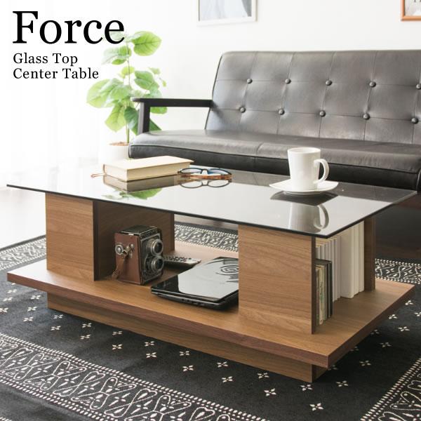 センターテーブル ガラステーブル リビングテーブル コーヒーテーブル ローデスク フロアーテーブル 座卓 ブラウン 木板ガラストップセンターテーブル ForceCT-9045
