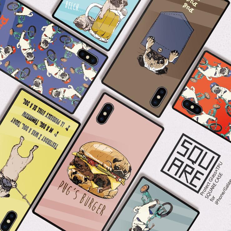 メール便送料無料 スマホケース iPhone12 mini 12Pro Max iPhoneSE 第2世代 iPhone11 Pro iPhoneXRiPhone8 ケース TPU 背面 9H強化ガラス スクエア 光沢 4年保証 12mini se2 7 XR ペア MAX 販売 スクエアケース iPhone8 ポケットパグ pug Plus XS ぶらさが pug'sburger パグ 強化ガラス SE iPhone 酔いどれパグ