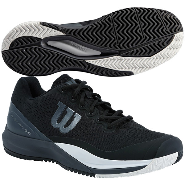 ウィルソン メンズ テニスシューズ RUSH PRO 3.0 AC (オールコート用) ブラック×エボニー×ホワイト (WRS325530)