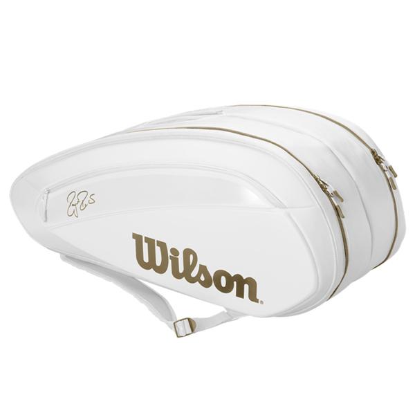 ウィルソン テニス ラケットバッグ FEDERER DNA 12PACK ホワイト×ゴールド (ラケット12本収納可能) (WR8004401001)