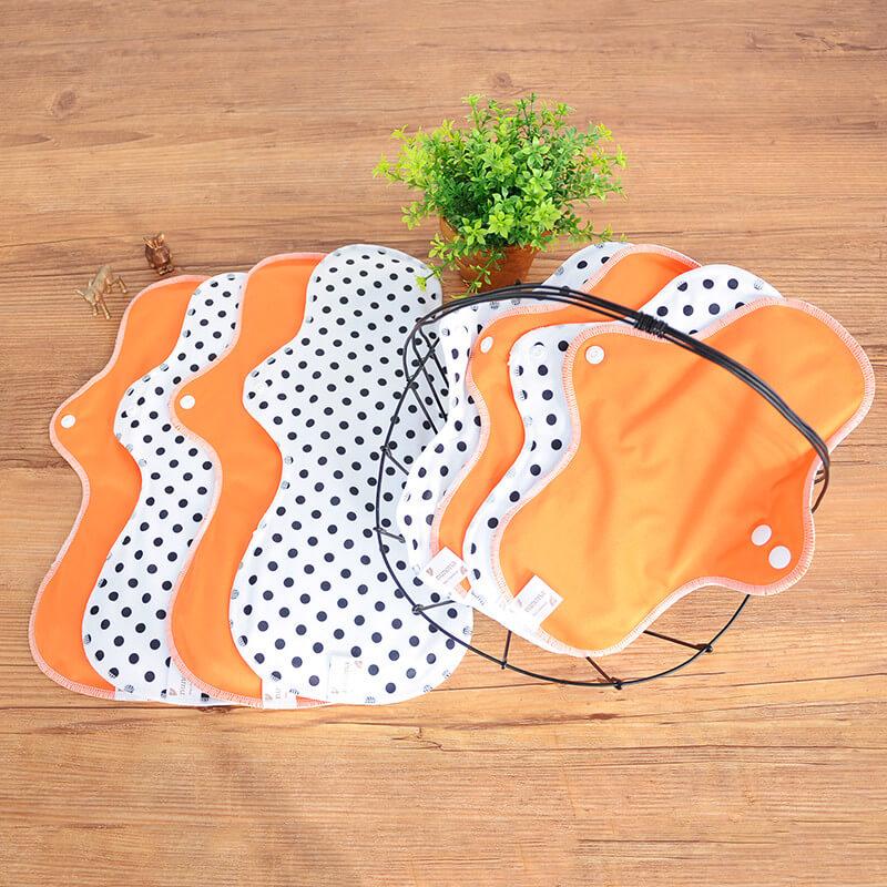 昼用・夜用(25cm~36cm・8枚入り)オーガニック100%|布ナプキンまとめ割セット オレンジ/ドット
