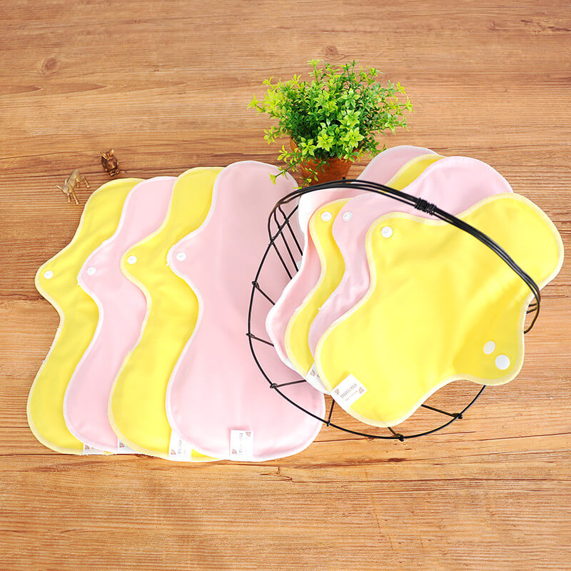 昼用・夜用(25cm~36cm・8枚入り)オーガニック100% 布ナプキンまとめ割セット イエロー/ピンク