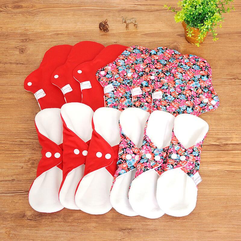 【洗濯が簡単・3D】昼用布ナプキン(25cm12枚)まとめ割セット レッド/デイジー|洗濯が楽ちんな3D立体構造布ナプキン
