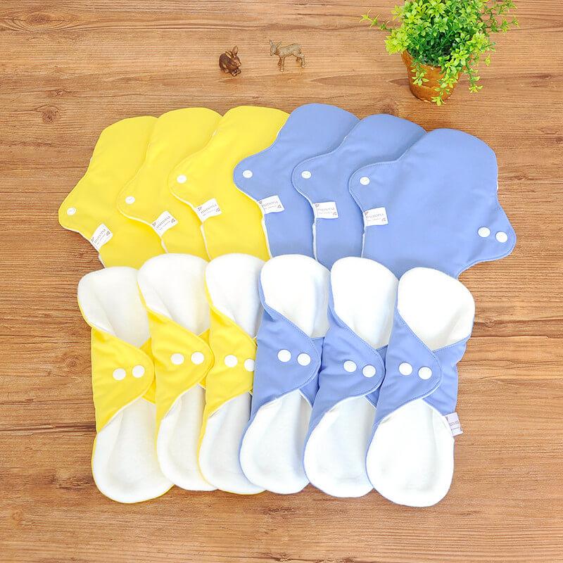 【洗濯が簡単・3D】昼用布ナプキン(25cm12枚)まとめ割セット イエロー/ブルー|洗濯が楽ちんな3D立体構造布ナプキン