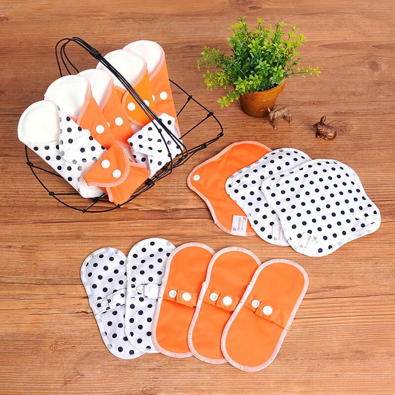 おりもの用・布ライナー・布おりものシート(17cm・15枚入り)オーガニック布ナプキンまとめ割セット オレンジ・ドット
