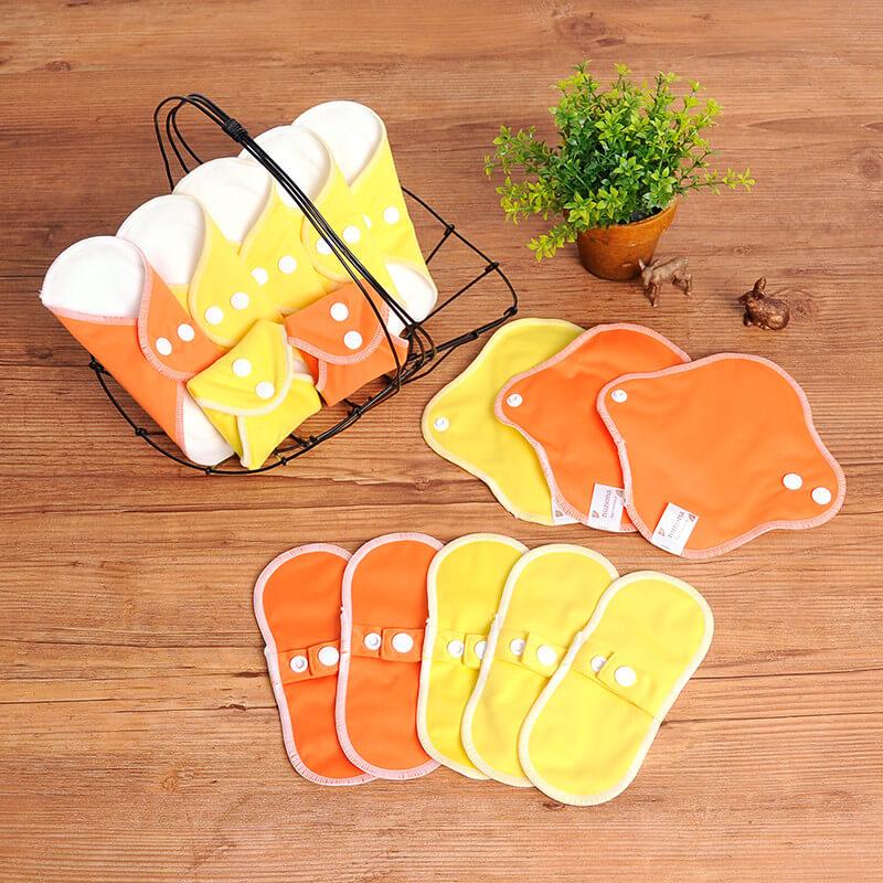 おりもの用・布ライナー・布おりものシート(17cm・15枚入り)オーガニック布ナプキンまとめ割セット イエロー・オレンジ