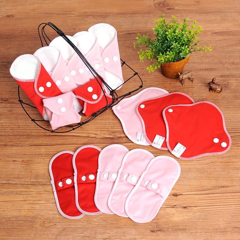 おりもの用・布ライナー・布おりものシート(17cm・15枚入り)オーガニック布ナプキンまとめ割セット ピンク・レッド