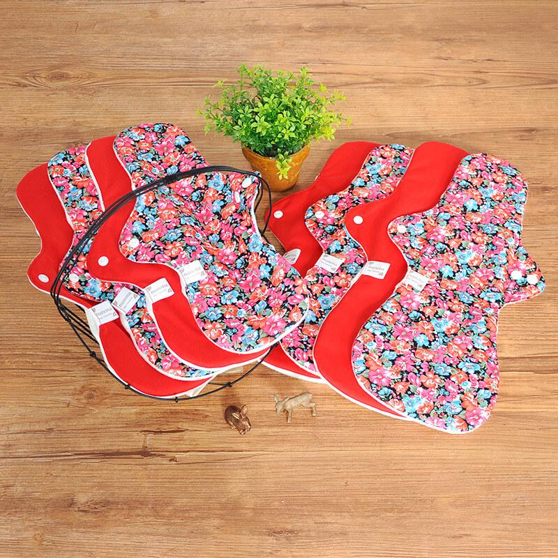 【洗濯が簡単・3D】夜用布ナプキン(33~40cm8枚)プレミアムセレクト レッド/デイジー 洗濯が楽ちんな3D立体構造布ナプキン