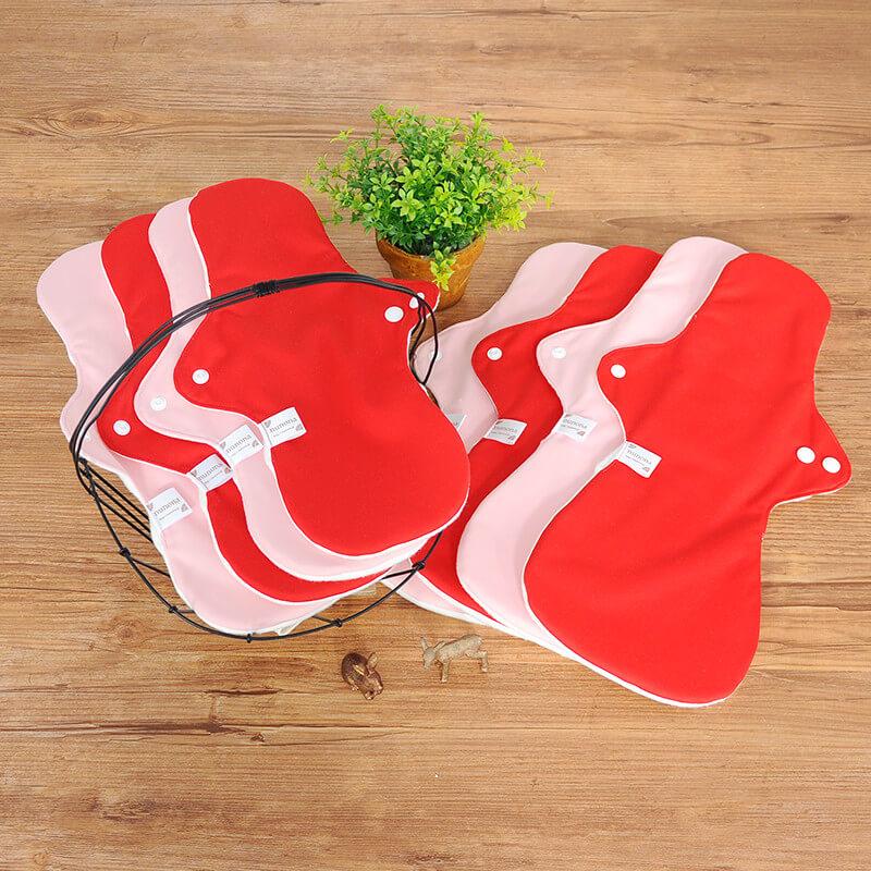 【洗濯が簡単・3D】夜用布ナプキン(33~40cm8枚)プレミアムセレクト ピンク/レッド|洗濯が楽ちんな3D立体構造布ナプキン