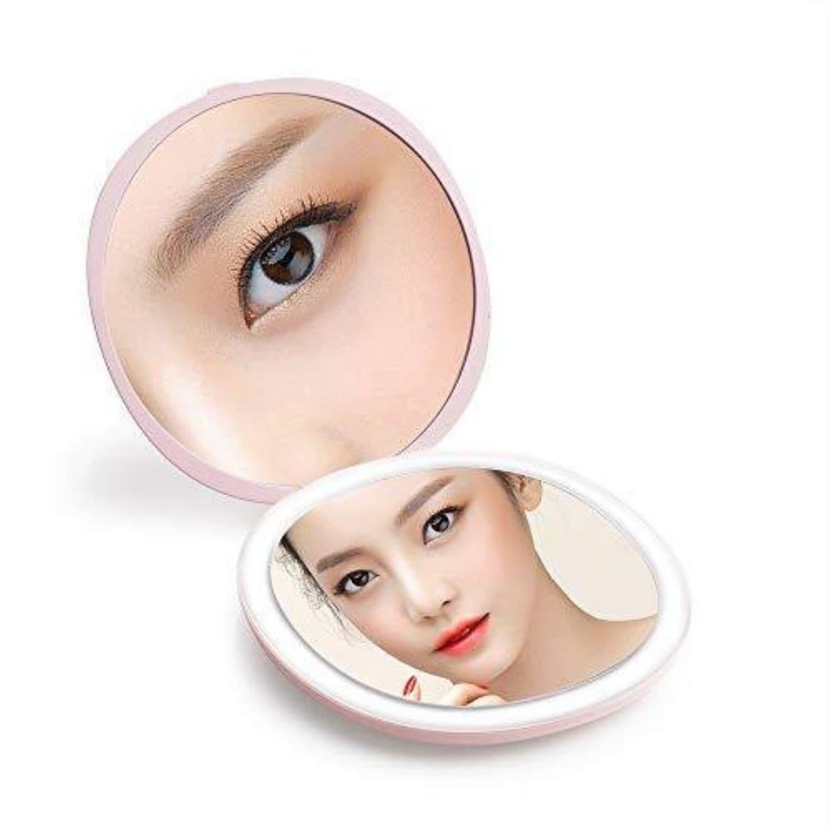 Mysmir コンパクトLEDミラー 手鏡 在庫あり 携帯 折り畳み式鏡 出色 化粧鏡 わくわくファイネスト 両面ミラー 折りたたみ 旅行ミラー