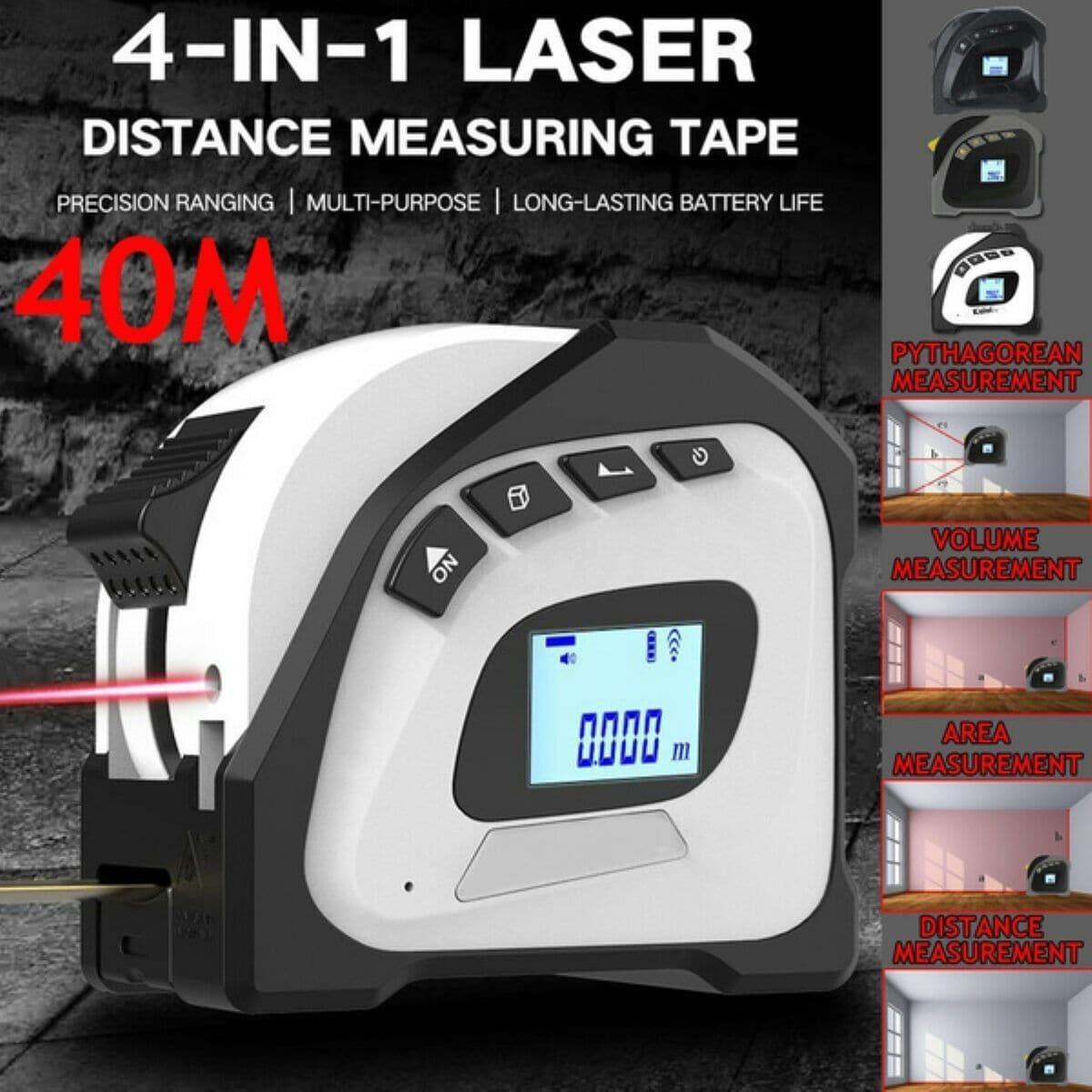 40Mレーザー レンジファインダー 送料込 デジタルテープ測定距離計5Mポータブル格納式テープルーラー わくわくファイネスト お値打ち価格で