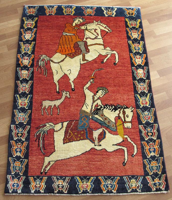 ギャッベ ギャベ/カシュガイ、絨毯のような細かな織 182×118cm