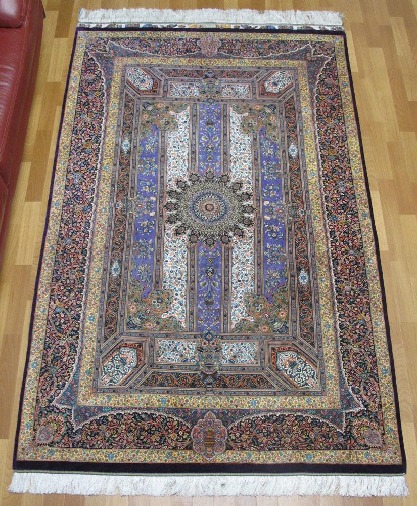 ペルシャ絨毯 手織り 高級 シルク リビングサイズ 221×136cm イラン直輸入 クム・ジャムシーディ 高品質 じゅうたん ラグ (品番:FL-9693)