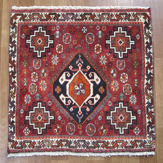 ギャッベ 59×58cm ラグ 天然ウール100% 手織り 座布団サイズ 草木染め イラン産ギャベ(カシュガイ) (品番:ZP-911)