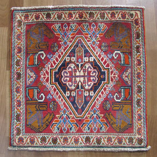 カシュガイ絨毯 座布団サイズ 65×63cm
