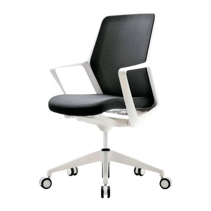 オフィスチェア ミドルバック 生興 セイコー ホワイトフレーム ブラック 黒 ブルー 青 グレー オレンジ JC-FL110WF 日本製 国産 椅子 肘付 パソコンチェア キャスター付き 事務所 オフィス チェア 椅子∴オフィスチェアミドルバック JC-FL110WF