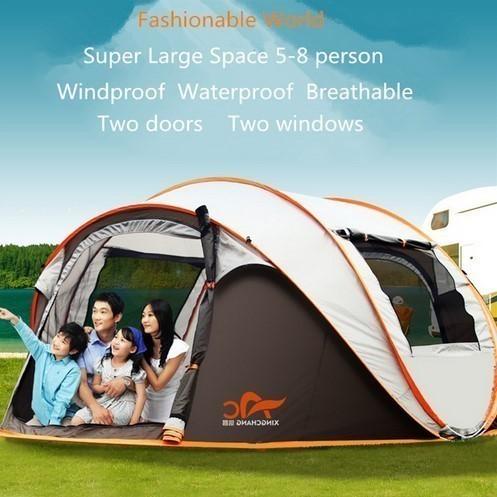 超軽量 大型 ポップアップ アウトドア テント 5~8人用 グレー