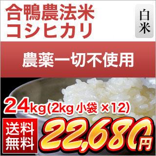合鴨農法米コシヒカリ 24kg(2kg×12袋)【白米】【送料無料】【29年産】 農薬及び化学肥料は一切不使用