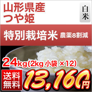 30年産 山形県産 つや姫〈特A評価〉 24kg(2kg×12袋)【特別栽培米】【送料無料】【白米・玄米】