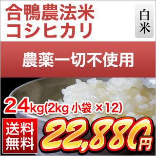 令和元年産(2019年) 合鴨農法米 コシヒカリ 24kg(2kg×12袋)【白米・玄米】【送料無料】農薬及び化学肥料は一切不使用