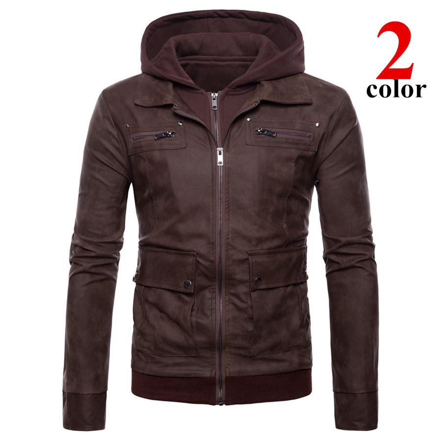 バイクPUジャケット 革ジャン ジャケット メンズ 立ち襟 バイクウェア ライダースジャケットフード付き 防風 防寒 おしゃれ