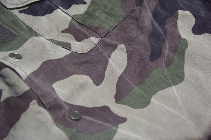 fba064dc635a1 France F1 camouflage shirt USED short sleeve distressed clothing and army  military
