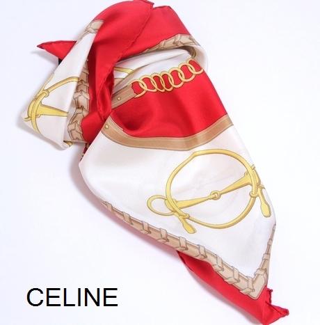 セリーヌ / シルク リング スカーフ イタリア製 【中古】 ショール / CELINE PARIS / #