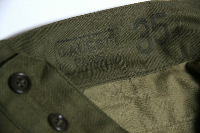 The French military rare 1950s M47 vintage cargo pant olive khaki / new  article forces military dead stock which there is reason in