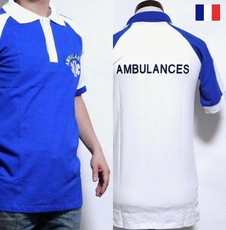 メンズXS~BIG フランス 超定番 アンビュランス ラグラン ポロシャツ 贈答 ポロ カットソー pd 半袖 メンズ 救急隊員 デッドストック トップス メール便