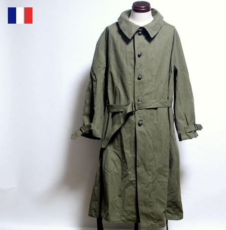 lowest discount low cost official sale French military vintage motorcycle canvas coat / men forces military / new  article dead stock military jacket trench outer
