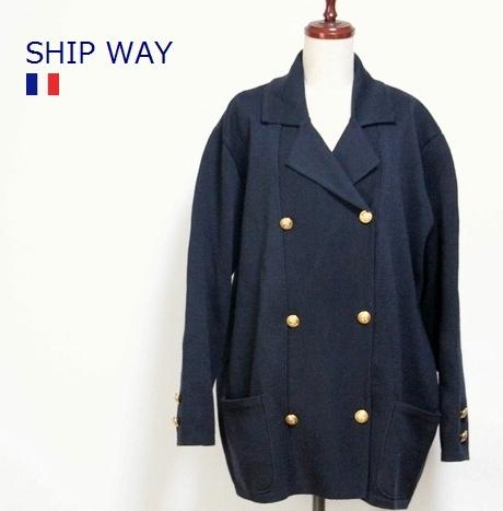 SHIP WAY / ヴィンテージ Wボタン ワイド ニット ジャケット フランス製 / デッドストック / 肩パッド 金ボタン アウター 長袖 / #
