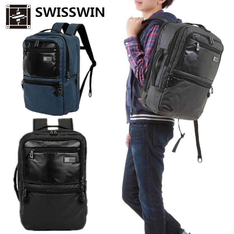 swisswin おしゃれなパソコン対応バック 大容量で 通勤 通学 ビジカジのかぶせリュックサック 明日楽対応 リュックサック 上質 SW222388 海外輸入 バッグ メンズ スクエアリュック 入学祝い 15インチまで対応 ノートPC スイスウイン 通勤対応 ビジネスバッグ タブレット収納 iPad a4ビジネスバッグ 進学祝いに スクエアバッグ スクエア型