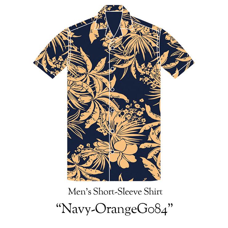【20th ANNIVERSARY Junglist】 メンズ半袖アロハシャツ/Men's Short-Sleeve Shirt[ネイビーオレンジ084/Navy-Orange084] 20周年記念 半袖 XL 3L 4L 5L 大きいサイズあり