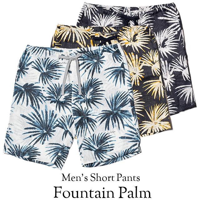 アロハハーフパンツ メンズ(男性用)「Fountain Palm」全3色 M L XL ショートパンツ